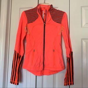 Lululemon neon orange and navy stripe zip jacket